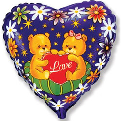 Шар 18'' (45см)  сердце     влюбленные мишки с сердечком синий