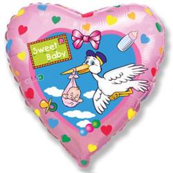 18''(45см) шар   сердце аист розовый