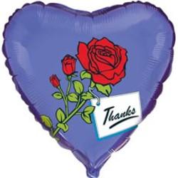18''(45см) шар   сердце роза с благодарностью синий