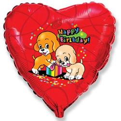 18''(45см) шар   сердце с днем рождения собачки с подарком красный