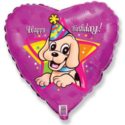 18''(45см) шар   сердце с днем рождения щенок в колпаке фуше