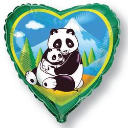 18''(45см) шар   сердце панды зеленый