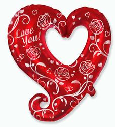 Шар 32'' (81см)  фигура     сердце с розами красный
