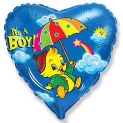 Шар 18'' (45см)  сердце     утенок мальчик синий