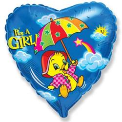 18''(45см) шар   сердце утенок девочка синий