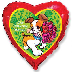 18''(45см) шар   сердце собака с букетом красный