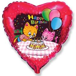 18''(45см) шар   сердце с днем рождения коты с тортом и шариками красный