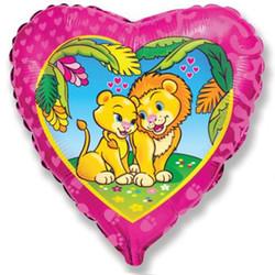 Шар 18'' (45см)  сердце     влюбленные львы розовый