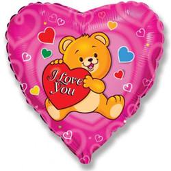 Шар 18'' (45см)  сердце     влюбленный счастливый медведь фуше