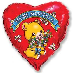 Шар 18'' (45см)  сердце     влюбленный медвежонок с цветами красный