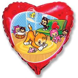 18''(45см) шар   сердце забавные маленькие котята синий