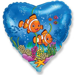 18''(45см) шар   сердце друзья рыбы-клоуны синий