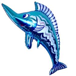 38''(96см) шар   фигура рыба-меч синий