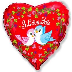Шар 18'' (45см)  сердце     влюбленные птички красный