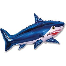 40''(106см) шар   фигура страшная акула синий