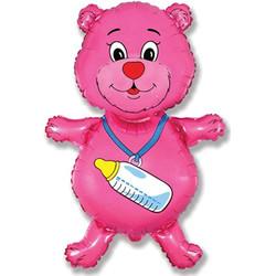 36''(91см) шар   фигура медвежонок-девочка розовый