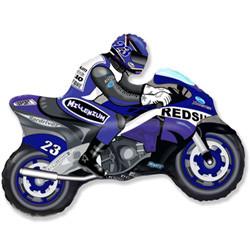Шар 33'' (83см)  фигура     мотоцикл синий