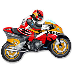 Шар 33'' (83см)  фигура     мотоцикл оранжевый
