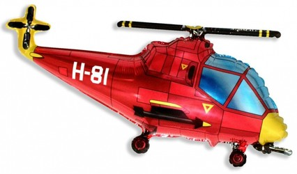 Шар 39'' (99см)  фигура     вертолет красный