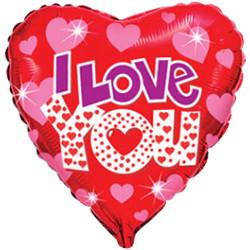 Шар 18'' (45см)  сердце     я люблю тебя яркие сердечки красный