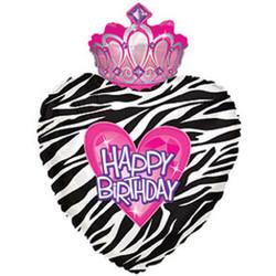 Шар 30'' (76см)  фигура     сердце в полоску с короной