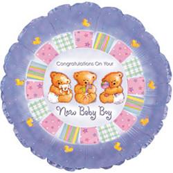 Шар 18'' (45см)  круг     с рождением мальчика мишки сиреневый