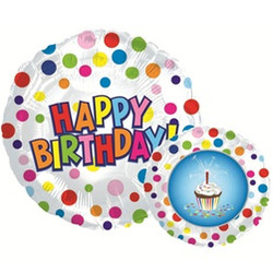 Шар 18'' (45см)  круг     с днем рождения пирожное белый