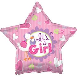 18''(45см) шар   звезда аист принес девочку розовый