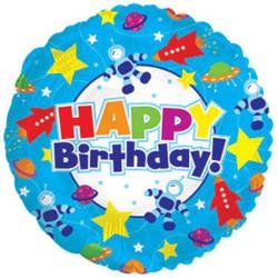 Шар 18'' (45см)  круг     с днем рождения космос синий