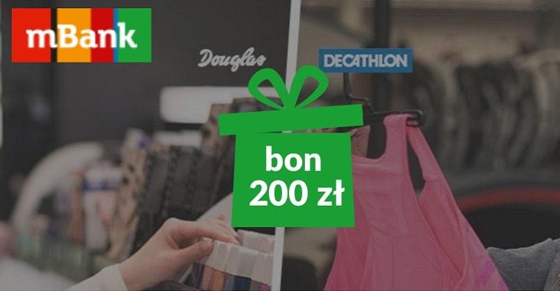 Nowość 200 zł do sklepów Douglas lub Decathlon z mBankiem JZ19