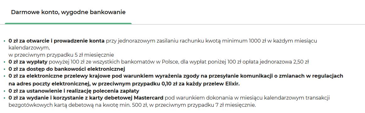Lista opłat BOŚ Bank Lista opłat BOŚ Bank