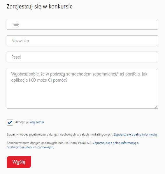 """Formularz rejestracji w konkursie """"Parku z IKO"""""""