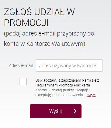 Formularz przystąpienia do promocji dla aktywnych użytkowników Kantoru Walutowego Alior Banku