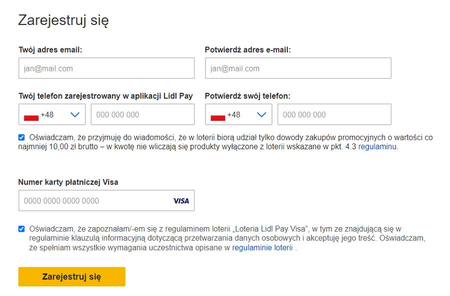 Formularz rejestracji w Loterii Lidl Pay Visa