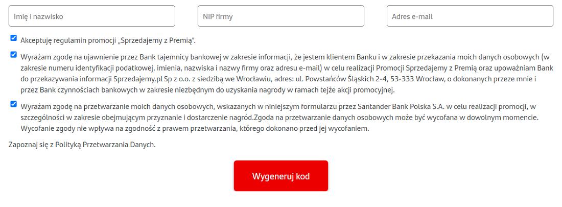 """Formularz promocyjny dotyczący akcji """"Sprzedajemy z premią"""" do Konta Firmowego Godnego Polecenia w Santanderze"""