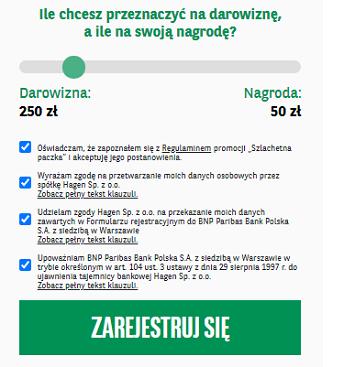 """Promocja """"Szlachetna Paczka z BNP Paribas"""" - przykładowy podział bonusu"""