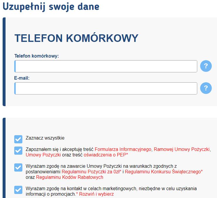 Rejestracja klienta w portalu smartpozyczka.pl