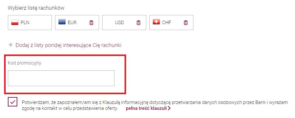 Miejsce na kod polecenia w formularzu wniosku o konto w Kantorze Walutowym Alior Banku