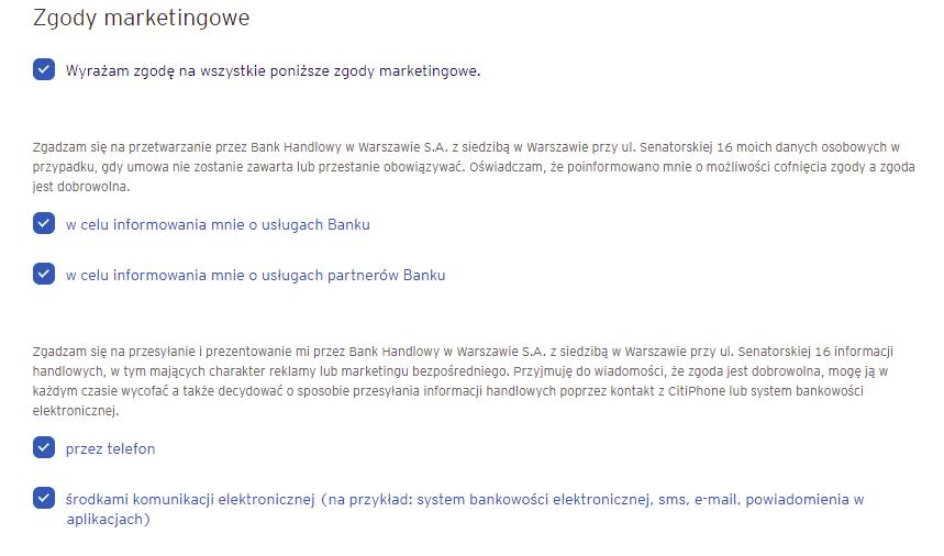 Zgody marketingowe we wniosku o CitiKonto w banku Citi Handlowy