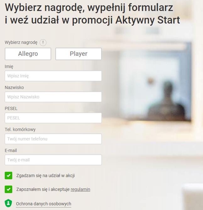 """Promocja """"Aktywny start"""" w Getin Banku - formularz przystąpienia"""