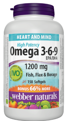 Webber Naturals Omega 3 6 9 1200mg 90 Softgel Capsules