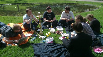 Staff meeting in a park