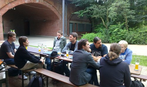 After-hackathon in a biergarten