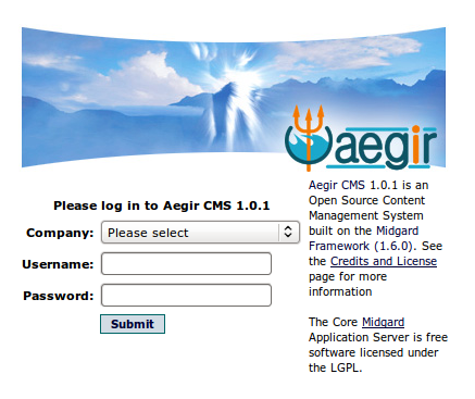 Aegir login screen