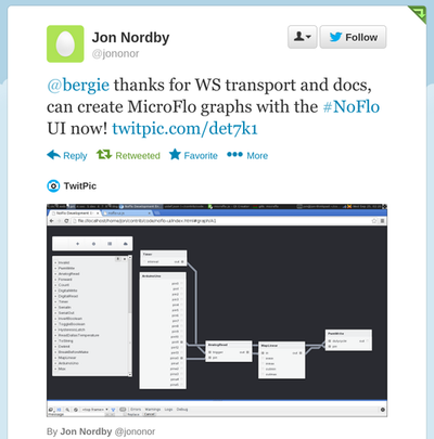Jon's tweet about the UI working with MicroFlo