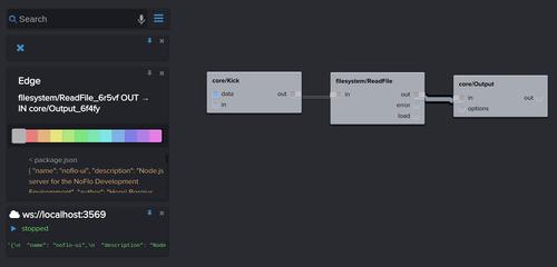 Node.js console output in NoFlo UI