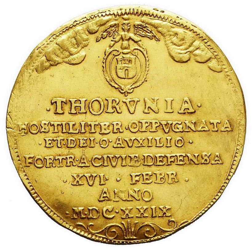 Talar 1629 odbity w złocie wagi 5 dukatów, Toruń