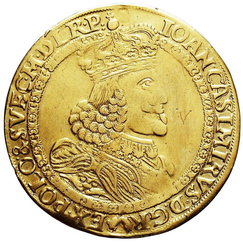 Półportugał koronny 1652, Poznań odbitka talara w złocie wagi 5 dukatów