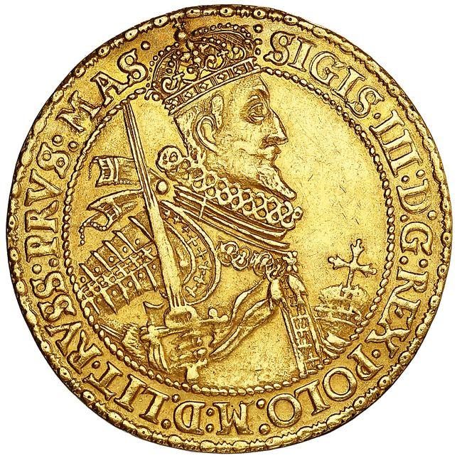 Półportugał 1620, odbity stemplem talara, Bydgoszcz