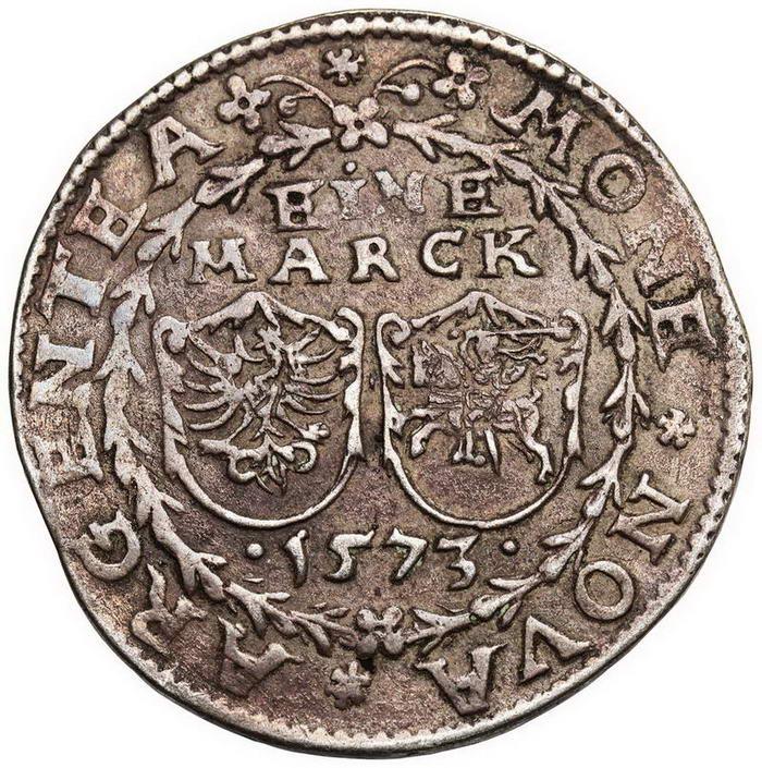 Zygmunt II August. Inflanty, 1 Marka 1573, Dahlholm